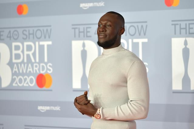 Stormzy attends The BRIT Awards 2020 at The O2 Arena on February 18, 2020 in London, England. (Jim Dyson/Redferns)