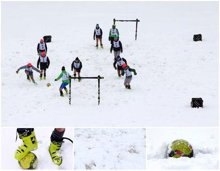 A combination picture shows ski club teachers playing soccer in the snow wearing ski boots (top), and details of ski boots, snow and a football, in Sestriere, Italy, May 14, 2018. REUTERS/Stefano Rellandini