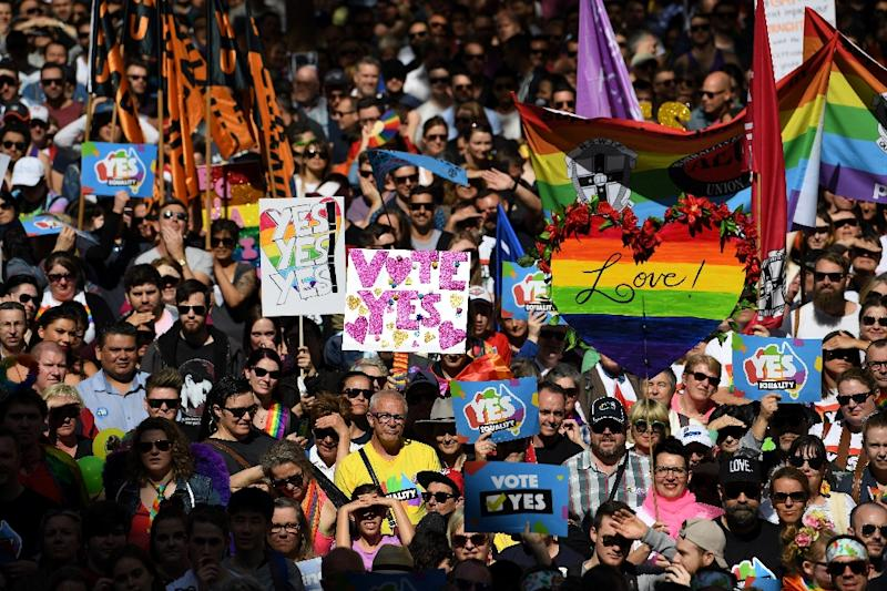 A same-sex marriage rally in Sydney, where thousands marched ahead of a contentious postal vote on gay marriage