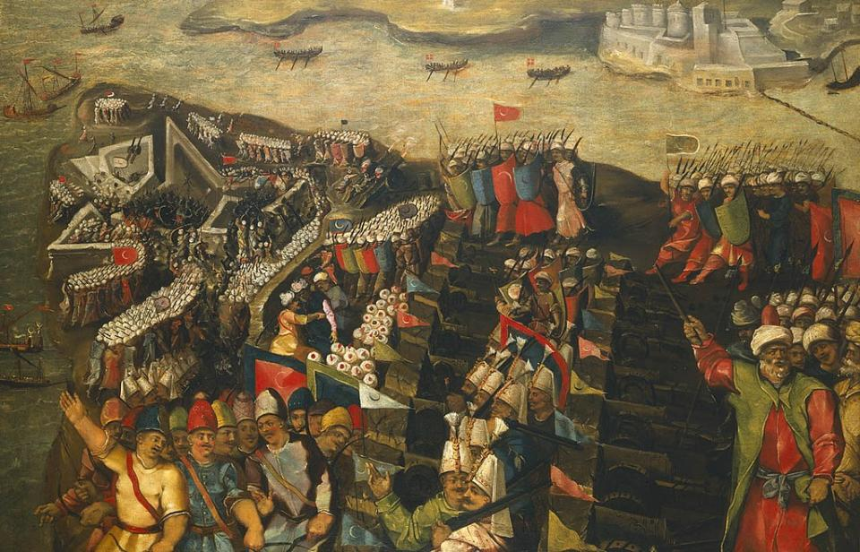 《The Siege of Malta: Capture of St Elmo, 23 June 1565 》by Matteo Pérez d'Alesio (Wikimedia Commons提供, 圖片來源collections.rmg.co.uk/collections/objects/11746.html)