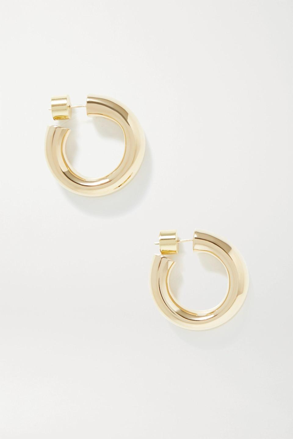 """<p><strong>Jennifer Fisher</strong></p><p>net-a-porter.com</p><p><strong>$285.00</strong></p><p><a href=""""https://go.redirectingat.com?id=74968X1596630&url=https%3A%2F%2Fwww.net-a-porter.com%2Fen-us%2Fshop%2Fproduct%2Fjennifer-fisher%2Fkevin-gold-plated-hoop-earrings%2F1280228&sref=https%3A%2F%2Fwww.redbookmag.com%2Ffashion%2Fg34824874%2Fbest-jewelry-gift-ideas%2F"""" rel=""""nofollow noopener"""" target=""""_blank"""" data-ylk=""""slk:Shop Now"""" class=""""link rapid-noclick-resp"""">Shop Now</a></p><p>Jennifer Fisher makes the absolute best hoop earrings. We particularly like a chunky gold style for holiday, but you can't go wrong with any of these hoops. </p><p>More: <a href=""""https://www.townandcountrymag.com/style/fashion-trends/g34286384/chunky-gold-jewelry/"""" rel=""""nofollow noopener"""" target=""""_blank"""" data-ylk=""""slk:10 Chunky Gold Jewelry Pieces to Wear Now"""" class=""""link rapid-noclick-resp"""">10 Chunky Gold Jewelry Pieces to Wear Now</a></p>"""