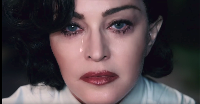 "Madonna weeps for gun violence victims in her powerful new ""God Control"" video. (Photo: Interscope)"