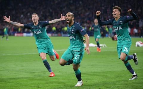 Lucas Moura of Tottenham Hotspur celebrates after scoring their third goal to complete his hat trick during the UEFA Champions League Semi Final second leg match between Ajax and Tottenham Hotspur  - Credit: Getty images