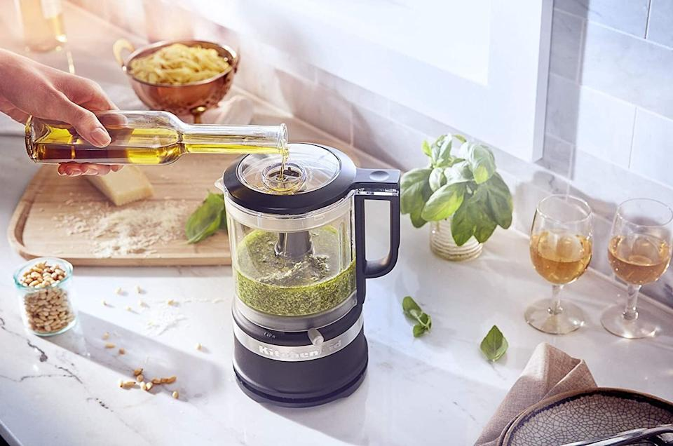 """This will helpspare you the hassle of trying to finely chop ingredients *and* make sure all of your sauces and soups will be lump-free.<br /><br /><strong>Promising review:</strong>""""This is a perfect size for a small counter. It stores both blades and the cord wraps nicely.<strong>It is large enough to chop a large onion</strong>. It has a variable speed which is great for controlling particle size. It seems well-made, very little vibration and is very attractive."""" —<a href=""""https://www.amazon.com/dp/B07HB1V27D?tag=huffpost-bfsyndication-20&ascsubtag=5817703%2C20%2C43%2Cd%2C0%2C0%2C0%2C962%3A1%3B901%3A2%3B900%3A2%3B974%3A3%3B975%3A2%3B982%3A2%2C16178275%2C0"""" target=""""_blank"""" rel=""""noopener noreferrer"""">D Powell</a><br /><br /><strong>Get it from Amazon for <a href=""""https://www.amazon.com/dp/B07HB1V27D?tag=huffpost-bfsyndication-20&ascsubtag=5817703%2C20%2C43%2Cd%2C0%2C0%2C0%2C962%3A1%3B901%3A2%3B900%3A2%3B974%3A3%3B975%3A2%3B982%3A2%2C16178275%2C0"""" target=""""_blank"""" rel=""""noopener noreferrer"""">$44.99+</a> (available in six colors).</strong>"""