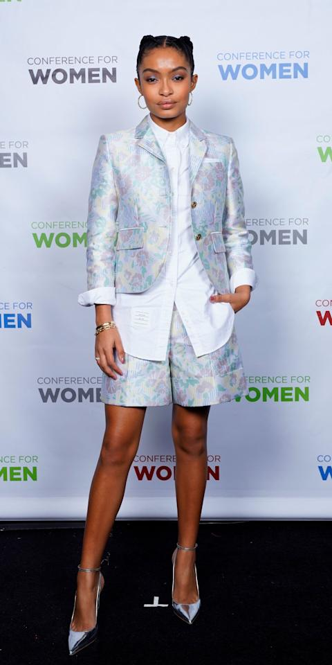 <p>Yara Shahidi made a strong case for the short suit in a Thom Browne look during the Massachusetts Conference for Women.</p>