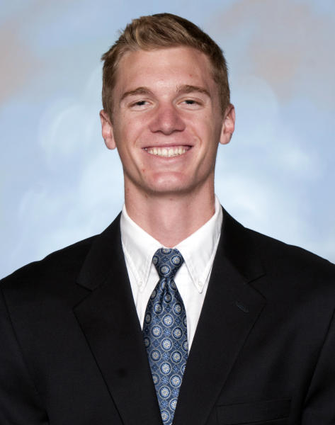 This undated photo provided by Utah State Athletics shows Utah State NCAA college basketball player Danny Berger in Logan, Utah. University spokesman Tim Vitale said that emergency responders had to use a defibrillator to get Berger breathing again after he collapsed during practice Tuesday, Dec. 4, 2012. (AP Photo/Utah State Athletics, Ryan Talbot)