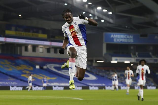 Jean-Philippe Mateta celebrates scoring Crystal Palace's first goal of the game