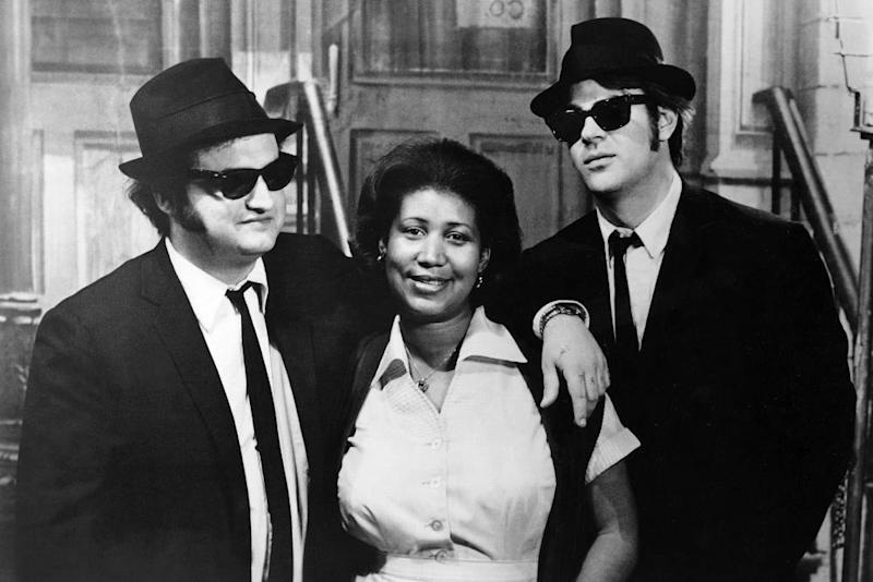 With John Belushi and Dan Aykroyd in The Blues Brothers, 1980.