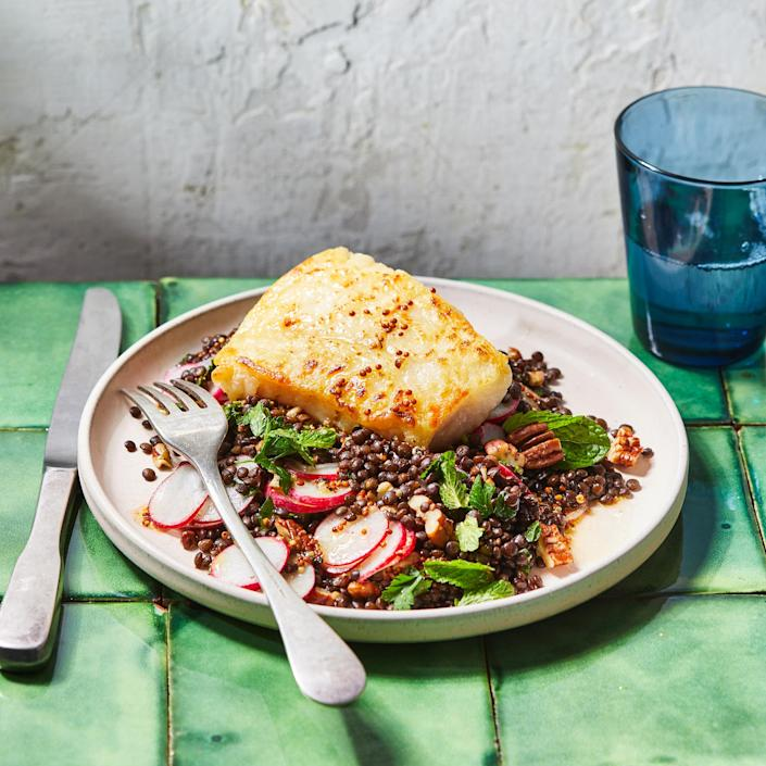 <p>This pan-seared cod pairs with a whole-grain mustard vinaigrette for a pop of tangy flavor that elevates this simply cooked piece of fish.</p>