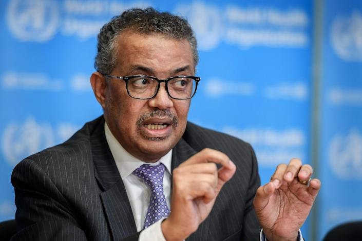 World Health Organization Director-General Tedros Adhanom Ghebreyesus speaks during a press briefing on COVID-19 in Geneva on March 09, 2020. US President Donald Trump announced on April 14, 2020, a suspension of US funding to the World Health Organization.