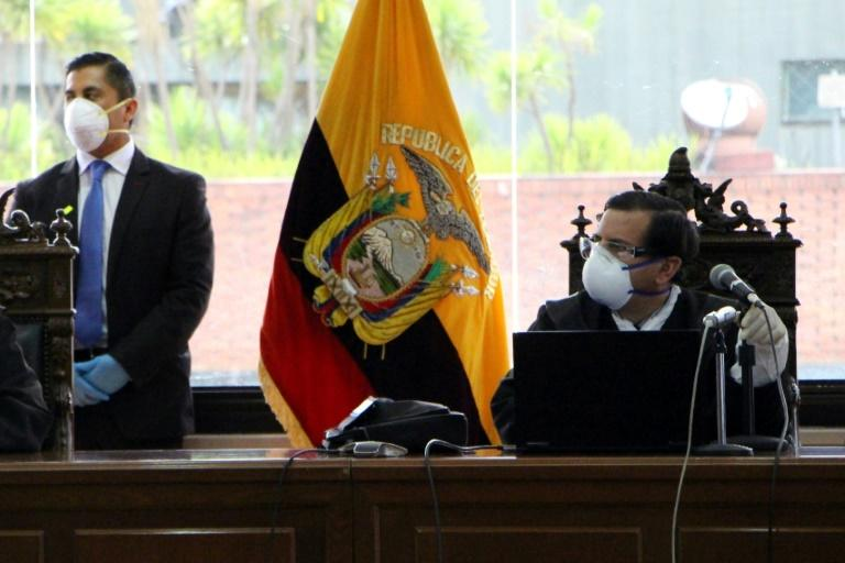 Ecuadoran Judge Ivan Leon (R) during the hearing at the National Court in Quito against exiled former President Rafael Correa, who accuses the country's judges of complicity in political persecution