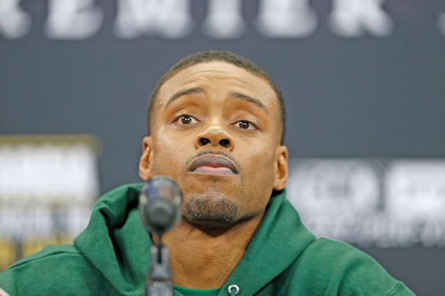 Errol Spence Jr. looks on during Wednesday's news conference. (James D. Smith/Dallas Cowboys)