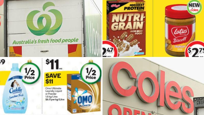 Nutri-Grain and sandwich spread on sale at Coles and laundry detergent and softener discounted at Woolworths.