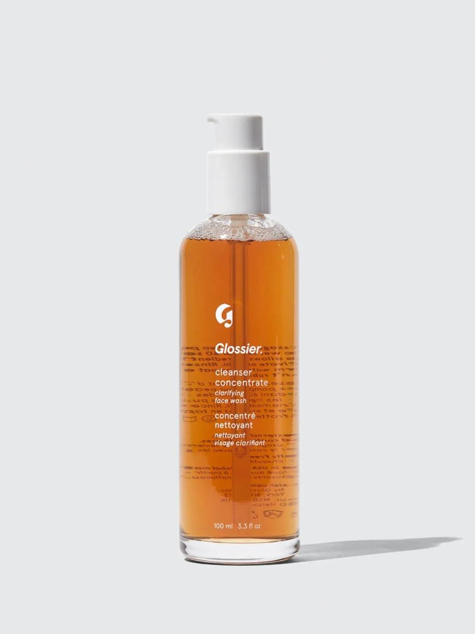 """<br><br><strong>Glossier</strong> Cleanser Concentrate, $, available at <a href=""""https://www.glossier.com/products/cleanser-concentrate?click_id=yfcSKx0RVxyLWtN0WlXSvXJOUkBwvlStk2K5Q00&irgwc=1&utm_source=impactradius&utm_medium=affiliate&utm_campaign=Refinery29&utm_content=431612&g_ref=fe96da46dc4a93&utm_publishergroup=digital_publishers&redirected=1"""" rel=""""nofollow noopener"""" target=""""_blank"""" data-ylk=""""slk:Glossier"""" class=""""link rapid-noclick-resp"""">Glossier</a>"""