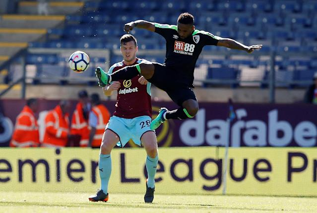 "Soccer Football - Premier League - Burnley vs AFC Bournemouth - Turf Moor, Burnley, Britain - May 13, 2018 Bournemouth's Jermain Defoe in action with Burnley's Kevin Long REUTERS/Andrew Yates EDITORIAL USE ONLY. No use with unauthorized audio, video, data, fixture lists, club/league logos or ""live"" services. Online in-match use limited to 75 images, no video emulation. No use in betting, games or single club/league/player publications. Please contact your account representative for further details."