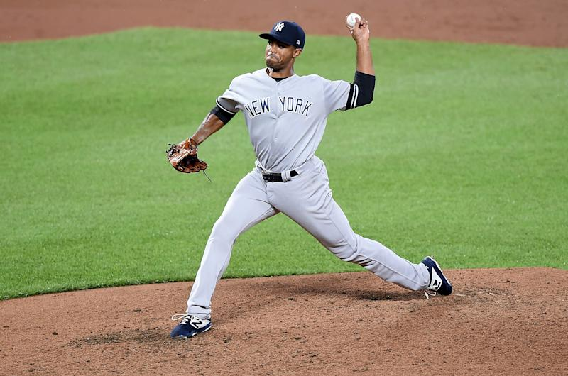 BALTIMORE, MD - AUGUST 06: Stephen Tarpley #71 of the New York Yankees pitches against the Baltimore Orioles at Oriole Park at Camden Yards on August 6, 2019 in Baltimore, Maryland. (Photo by G Fiume/Getty Images)