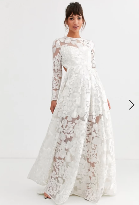 ASOS EDITION wedding dress with open back and floral embroidery for $360. Photo: ASOS