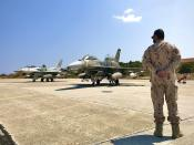 In this photo provided by the Greek Defense Ministry, air force jets from the United Arab Emirates arrive at the airbase of Souda to take part in a joint training with Greek forces, on the southern island of Crete, Greece, on Thursday, Aug. 27, 2020. Germany's foreign minister on Thursday called for an end to military drills in the eastern Mediterranean to defuse tensions and create conditions for NATO allies Greece and Turkey to resolve a dispute over offshore energy exploration rights. (Greek Defense Ministry via AP)