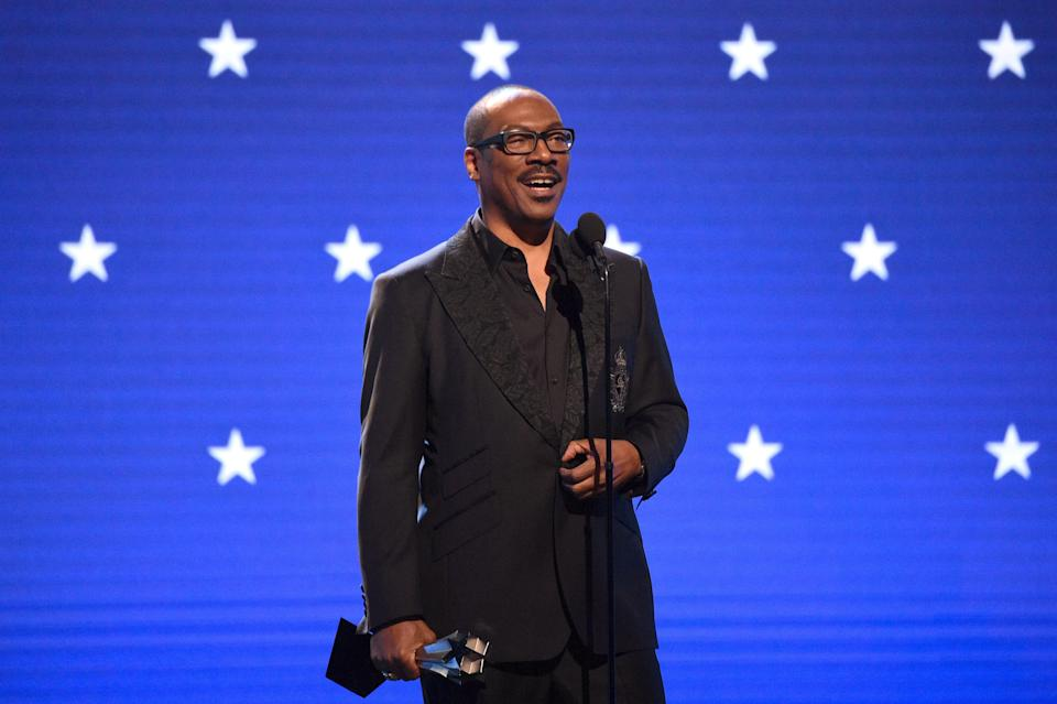 Eddie Murphy accepts the Lifetime Achievement Award at the Critics' Choice Awards on January 12, 2020. (Photo by Kevin Mazur/Getty Images for Critics Choice Association)