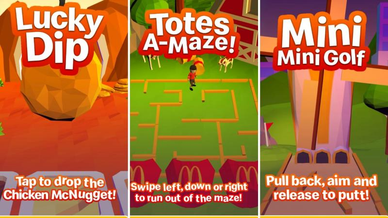 Screenshots of mini games Lucky Dip, Totes A-maze and Mini Mini Golf.