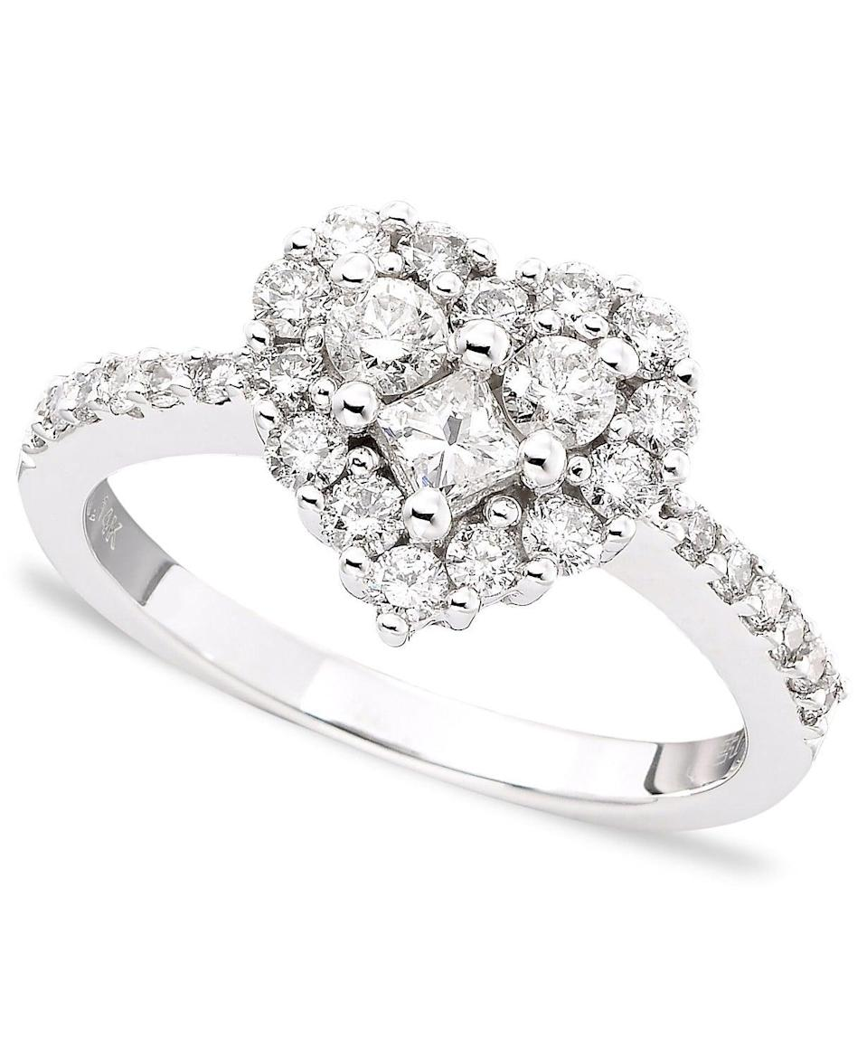 <p>You'll love the princess cut on this <span>Classique by EFFY Diamond Heart Ring</span> ($3,200).</p>