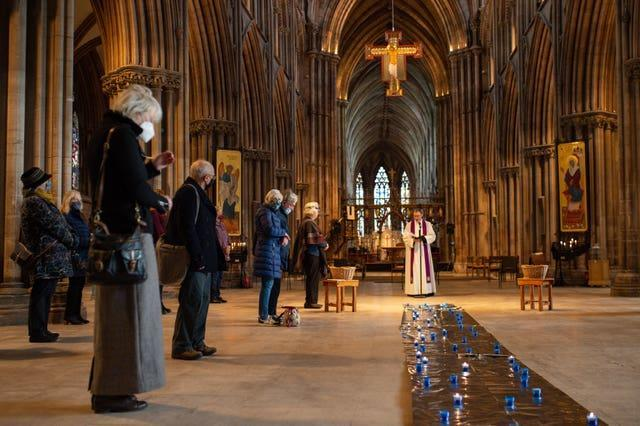 Canon Andrew Stead leads a service during the day of reflection at Lichfield Cathedral