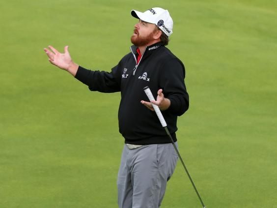 JB Holmes reacts to a triple-bogey on the 11th hole during a nightmare final round at The Open (PA)