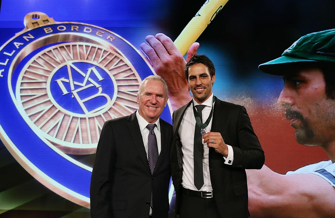 SYDNEY, AUSTRALIA - JANUARY 20:  Mitchell Johnson poses with Allan Border after winning the Allan Border Medal during the 2014 Allan Border Medal at Doltone House on January 20, 2014 in Sydney, Australia.  (Photo by Mark Metcalfe/Getty Images)