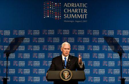 FILE PHOTO - U.S. Vice President Mike Pence gives a speech during Adriatic Charter Summit in Podgorica, Montenegro, on August 2, 2017. REUTERS/Stevo Vasiljevic/File Photo