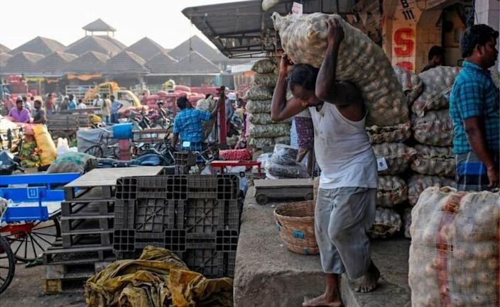 Many farmers sell produce at large wholesale markets or mandis