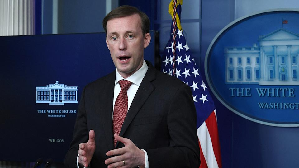 National Security Adviser Jake Sullivan speaks during the daily press briefing on March 12, 2021, in the Brady Briefing Room of the White House in Washington, DC. (Olivier Doulliery/AFP via Getty Images)