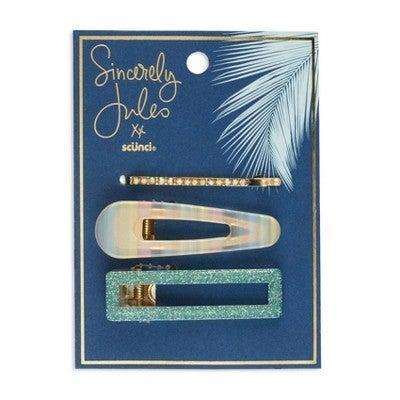 """<h3>Sincerely Jules by Scünci Acrylic Salon Clip and Bobby Pin Set</h3> <br>Both oversized acrylic clips — in rectangular turquoise and white holographic — are snap designs, which makes them super easy to pop into any hairstyle, be it a <a href=""""https://www.refinery29.com/en-us/half-up-hairstyles"""" rel=""""nofollow noopener"""" target=""""_blank"""" data-ylk=""""slk:half-up half-down"""" class=""""link rapid-noclick-resp"""">half-up half-down</a> or a loose bun.<br><br><strong>Sincerely Jules by Scunci.</strong> Sincerely Jules by Scunci Acryllic Salon Clip and Bobbie Pin Set, $, available at <a href=""""https://go.skimresources.com/?id=30283X879131&url=https%3A%2F%2Fwww.target.com%2Fp%2Fsincerely-jules-by-scunci-acryllic-salon-clip-and-bobbie-pin-set%2F-%2FA-79438132%23locklink"""" rel=""""nofollow noopener"""" target=""""_blank"""" data-ylk=""""slk:Target"""" class=""""link rapid-noclick-resp"""">Target</a><br>"""