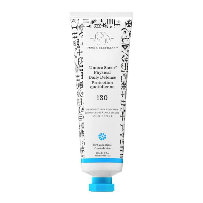 """&ldquo;I usually find mineral sunscreens to be way too thick for me, but when I tried this Drunk Elephant version, I was pleasantly surprised. The formula <i>was </i>admittedly thick, but it blended in well, didn&rsquo;t make me look like I was covered in chalk and didn&rsquo;t feel too heavy. The only thing I don&rsquo;t love about it is the smell, but it dissipates very quickly.&rdquo; <i>― Julia Brucculieri, beauty and style reporter<br><br></i><strong>Get the <a href=""""https://www.sephora.com/product/umbra-tm-sheer-physical-daily-defense-broad-spectrum-sunscreen-spf-30-P419222"""" rel=""""nofollow noopener"""" target=""""_blank"""" data-ylk=""""slk:Drunk Elephant Umbra Sheer Physical Daily Defense broad spectrum sunscreen"""" class=""""link rapid-noclick-resp"""">Drunk Elephant Umbra Sheer Physical Daily Defense broad spectrum sunscreen</a> for $34.</strong>"""