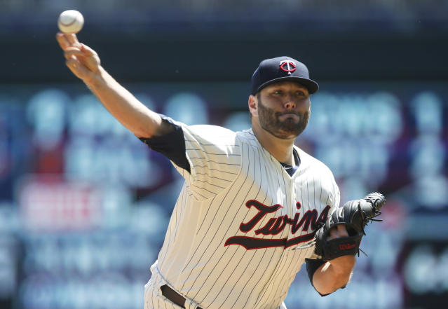 Minnesota Twins pitcher Lance Lynn throws against the St. Louis Cardinals in the first inning of a baseball game Wednesday, May 16, 2018, in Minneapolis. (AP Photo/Jim Mone)