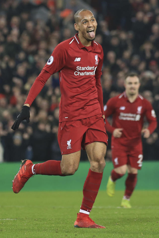 Liverpool's Fabinho celebrates after scoring his side's fourth goal during the English Premier League soccer match between Liverpool and Newcastle at Anfield Stadium, Liverpool, England, Wednesday, Dec. 26, 2018. (AP Photo/Jon Super)