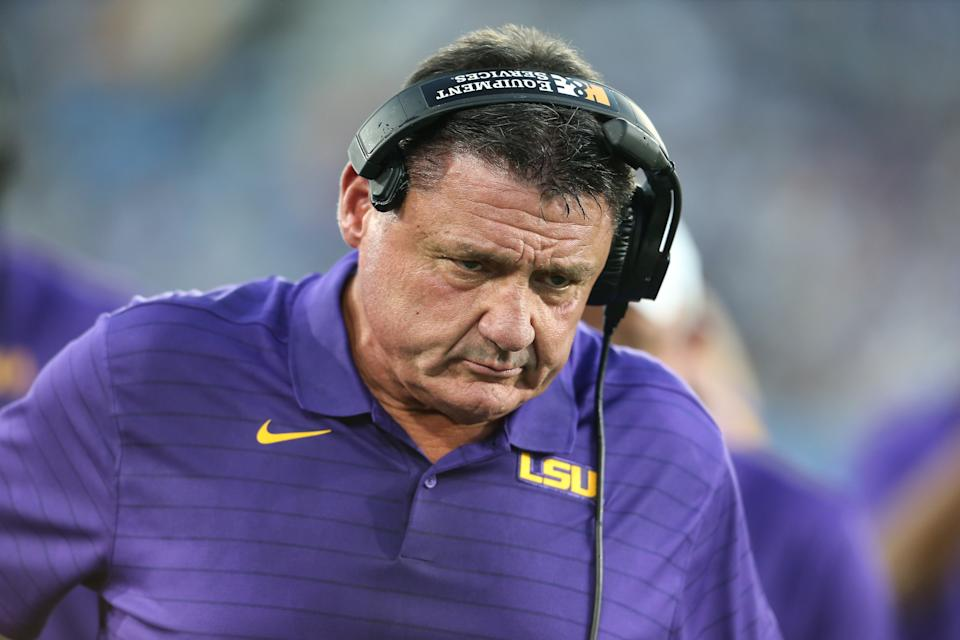 PASADENA, CA - SEPTEMBER 04:  LSU Tigers head coach Ed Orgeron during the college football game between the LSU Tigers and the UCLA Bruins on September 04, 2021, at the Rose Bowl in Pasadena, CA. (Photo by Jevone Moore/Icon Sportswire via Getty Images)