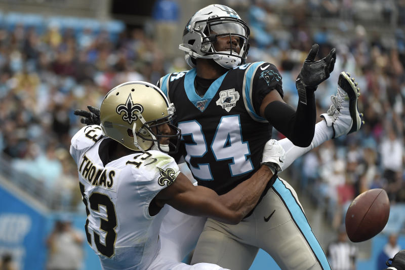 Former Carolina Panthers cornerback James Bradberry got a huge deal from the New York Giants. (AP Photo/Mike McCarn)
