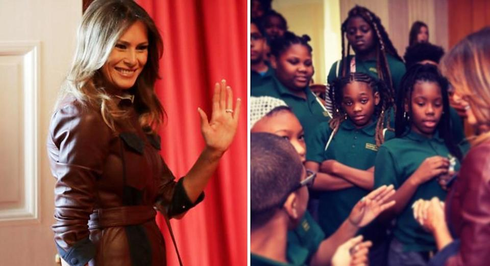 Melania Trump held a White House movie event for a group of secondary school students. (Photo: Getty Images)