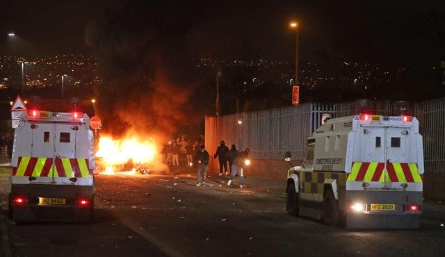 Petrol bombs were thrown at police in Creggan, Londonderry (Niall Carson/PA)