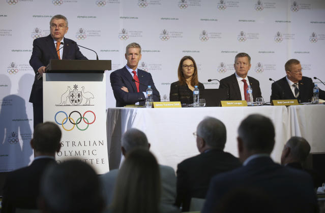 International Olympic Committee President Thomas Bach, top left, speaks at the Australian Olympic Committee annual general meeting in Sydney, Australia, Saturday, May 4, 2019. (AP Photo/Rick Rycroft)
