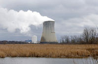 FILE – This April 4, 2017, file photo shows the entrance to FirstEnergy Corp.'s Davis-Besse Nuclear Power Station in Oak Harbor, Ohio. A nuclear plant bailout law should be repealed immediately, Democratic members of the Ohio House announced Wednesday, July 22, 2020, as a bribery scandal involving one of the state's most powerful lawmakers unfolded over the law's passage. (AP Photo/Ron Schwane, File)