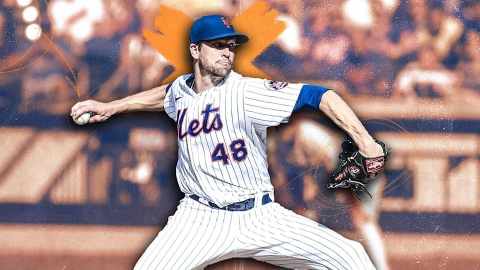 Jacob deGrom treated image, winding back to throw with orange X behind head