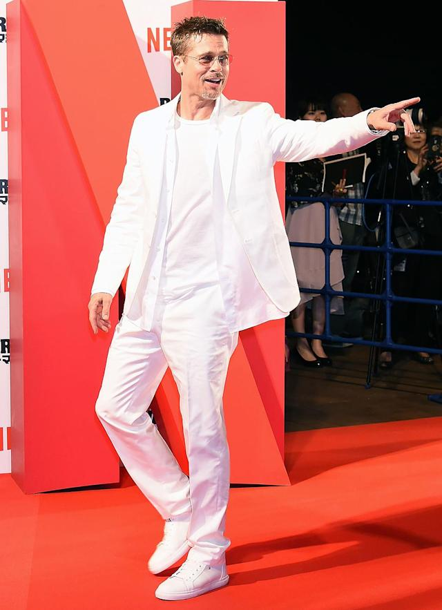 <p>It looks like Brad Pitt's got his swagger back! The actor dared to wear all white to the Tokyo premiere of <em>War Machine </em>and was clearly having a great time while interacting with the crowd. (Photo: Jun Sato/WireImage) </p>