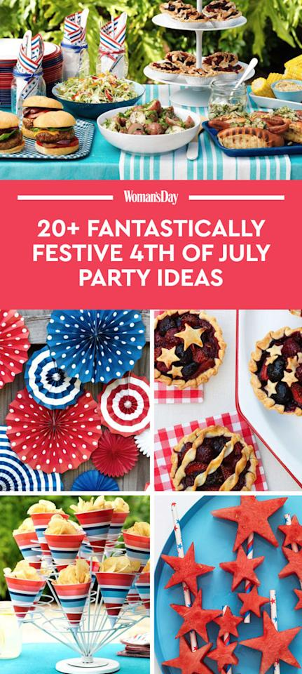 """<p>Save these 4th of July party ideas for later by pinning this image, and follow <em>Woman's Day </em>on <a rel=""""nofollow"""" href=""""https://www.pinterest.com/womansday/"""">Pinterest</a> for more.<span></span></p>"""