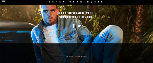 A screen shot from Derek Carr's new music site. (DerekCarrMusic.com)