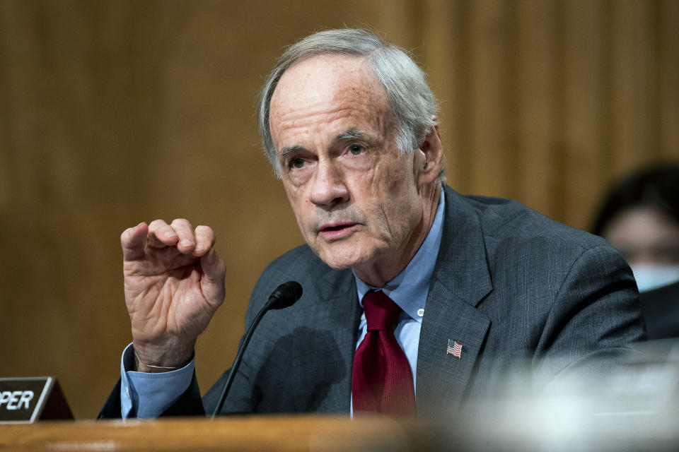 Sen. Tom Carper, D-Del., speaks during a Senate Homeland Security and Governmental Affairs Committee hearing to discuss security threats 20 years after the 9/11 terrorist attacks, Tuesday, Sept. 21, 2021 on Capitol Hill in Washington. (Greg Nash/Pool via AP)