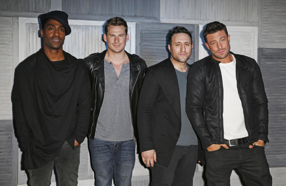 LONDON, ENGLAND - MARCH 09:  (L to R) Simon Webbe, Lee Ryan, Antony Costa and Duncan James of Blue arrive at a party hosted by Instagram's Kevin Systrom and Jamie Oliver. This is their second annual private party, taking place at Barbecoa on March 9, 2015 in London, England.  (Photo by David M. Benett/Getty Images for Instagram)