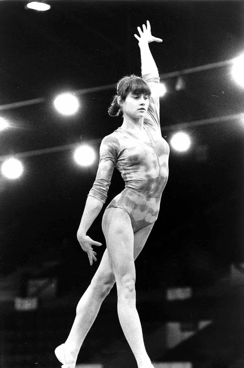 <p>Gold medalist Nadia Comaneci was the first-ever gymnast to earn a perfect 10 in Olympic competition. </p>