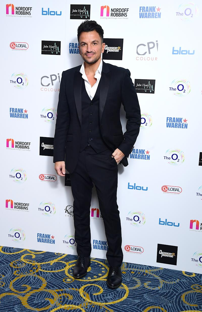 Peter Andre attending the Nordoff Robbins Boxing Dinner held at the Hilton Hotel, London. PA Photo. Picture date: Monday November 18, 2019.
