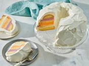 "<p><strong>Recipe: <a href=""https://www.southernliving.com/recipes/rainbow-sherbet-cake"" rel=""nofollow noopener"" target=""_blank"" data-ylk=""slk:Rainbow Sherbet Cake"" class=""link rapid-noclick-resp"">Rainbow Sherbet Cake</a></strong></p> <p>Rainbow sherbet ice cream? That's old news. Rainbow sherbet cake is the prettiest way to enjoy your favorite ice cream shop flavors.</p>"